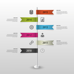 Timeline infographics. Flags. Vector illustration. Black