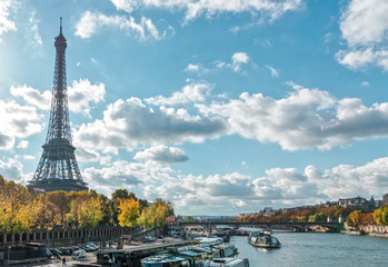 Paris, the Eiffel Tower and the Seine River in the fall on a sun