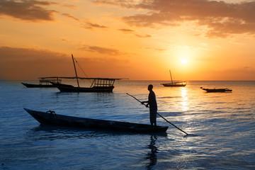 Poster Zanzibar Traditional boat on Zanzibar coast