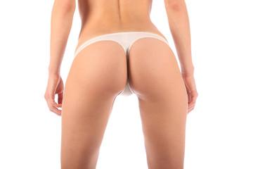 Sexy butt ass girls in white underwear isolated