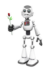 White smiling cartoon robot holding rose.