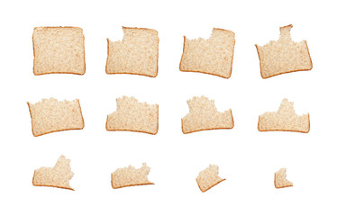 Sequence of biting a slice of wholemeal bread isolated