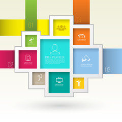 Rectangles group template with icons.