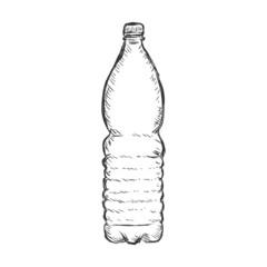 Vector Single Sketch Plastic Bottle of Water