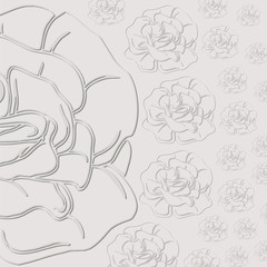 gray background with roses. cut from paper.