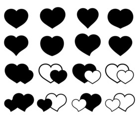 Collection of icons with hearts