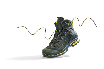 Climbing shoes with laces on a white background