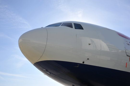 Boeing 777 nose at London, Gatwick.