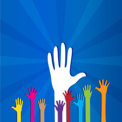 Colored social hands up donation