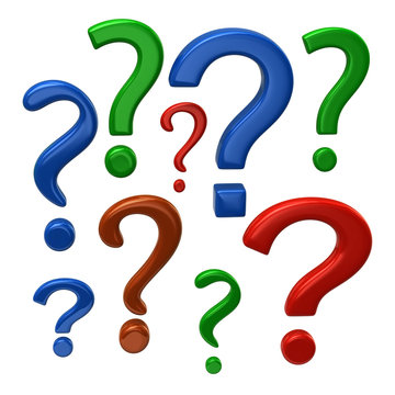Colorful question marks sign