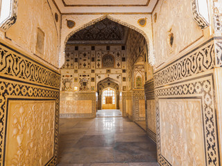 Beautiful pattern on the palace wall at Amer Fort