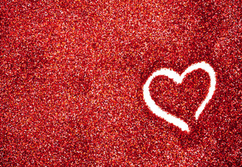 Glitter: Red Glitter With Heart Drawn Background
