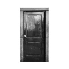 Old black wooden door isolated on white
