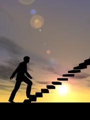 Conceptual business man climbing a stair