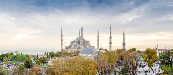 Panoramic aerial view of Blue Mosque area in Istanbul