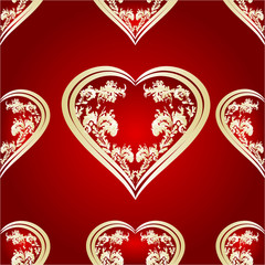 Seamless texture heart of gold and silver ornaments red vector