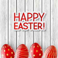 Easter greeting card with red eggs