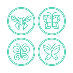 Vector set of line butterfly logos and icons