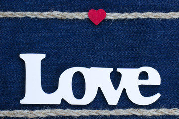 Wood Love text with rope and red heart border