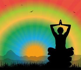 silhouette maschile che medita in paesaggio surreale