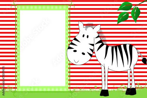 Kid scrapbook with zebra - Photo frames for children\