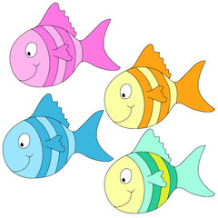 four different colors and smiling fishes
