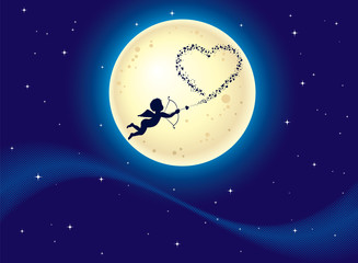 Cupid shooting hearts at moonlight