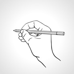 Vector illustration of a hand writing with a pencil