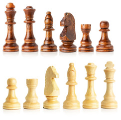 black and white wooden chess isolated on the white background