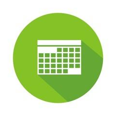 Icono calendario verde botón sombra