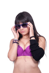 Lady with purple bra and sunglases