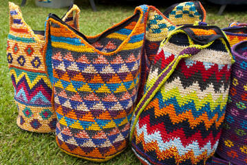 Various Items Of Crocheted Bucket Style Handbags
