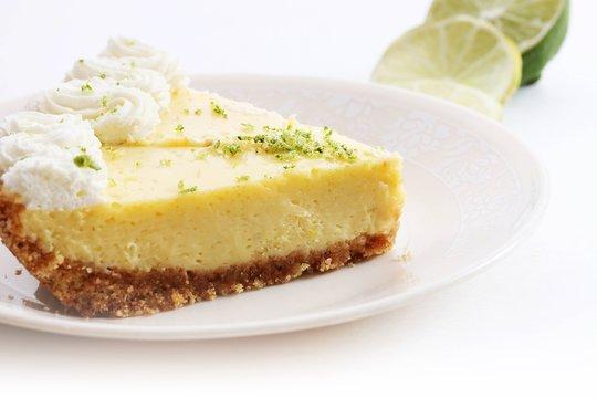 Slice of homemade key lime pie