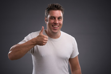 Showing thumbs-up
