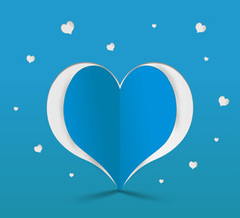 Blue heart paper sticker. Vector illustration
