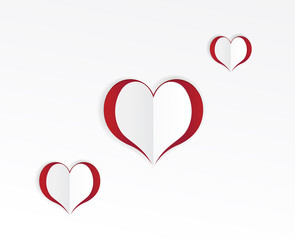 Red hearts paper sticker. Vector illustration
