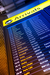 Wall Mural - Flight arrival and departure sign board in airport
