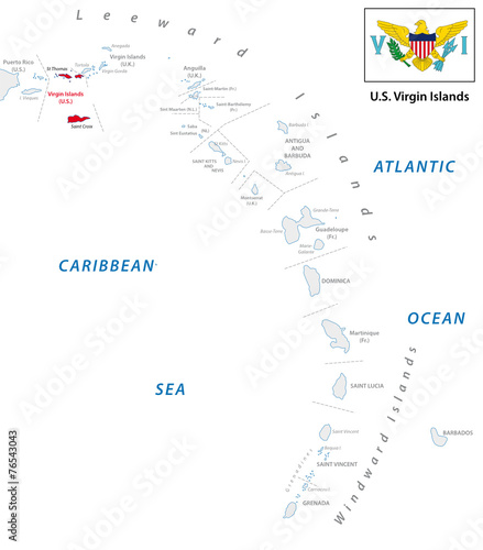 lesser antilles outline map with u.s. virgin island map\