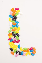 Jelly beans making up a shape.