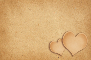 Craft paper background with hearts
