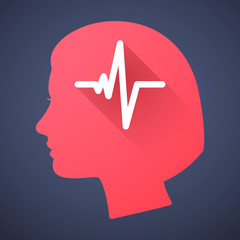 Female head silhouette icon with a heart beat sign