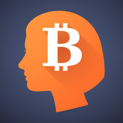 Female head silhouette icon with a bitcoin sign