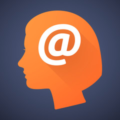 "Female head silhouette icon with an ""at"" sign"