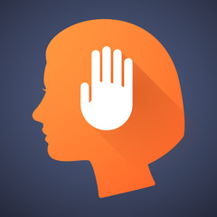 Female head silhouette icon with a hand