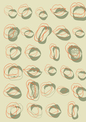 Background with several hand draw mouths