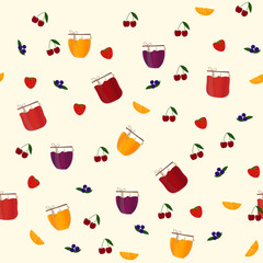 Vector seamless pattern with jam and fruits