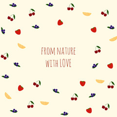 Vector background with fruits and berries, text for design.