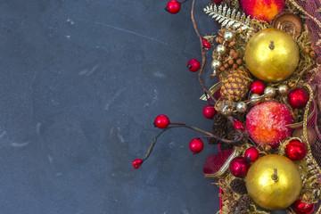 Christmas garland on the table