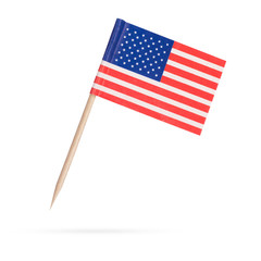 Miniature Flag USA. Isolated on white background