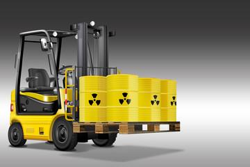 Gabelstapler mit Atommüll. Gelb, scharz, freigestellt